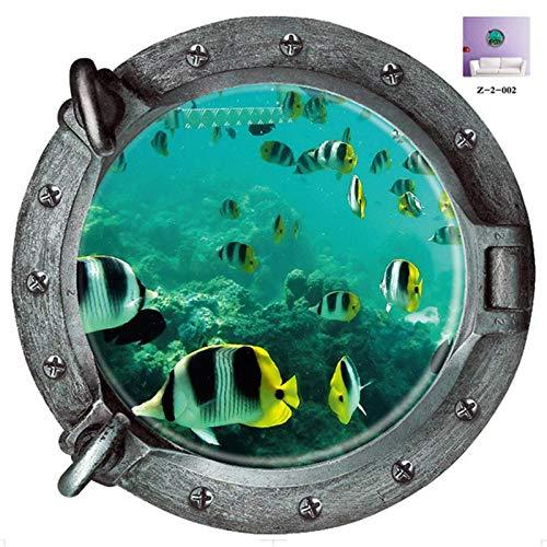 Atiehua Wandtattoos Dekorative 3D U-Boot Bullaugen Barthroom Wc Wandaufkleber Kinder Korallen Fisch Boot Aufkleber Kunst Kindergarten Wohnkultur