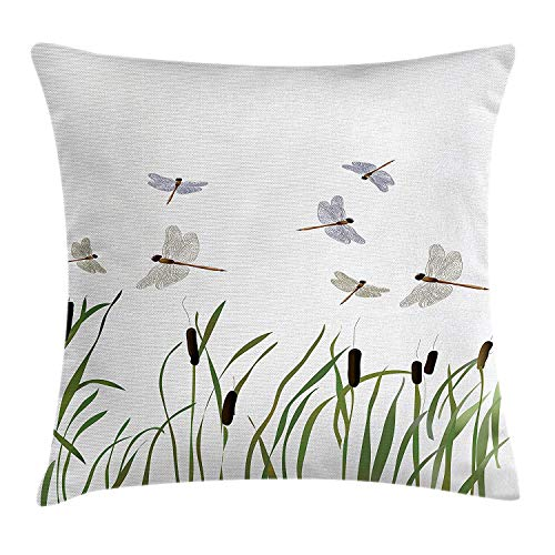 GONIESA Dragonfly Throw Pillow Cushion Cover, Flying Small Dragonflies Over Tall Reeds Botanical Environmental Artsy Graphic, Decorative Square Accent Pillow Case, 18 X 18 inches, Purple Green