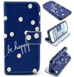 Angelina(TM) iPhone 5 Case / iPhone 5S Case Hot Sell Fashion iPhone 5 5S Magnetic Flip PU Leather Wallet Case Cute Happy with Flower Design with Stand & Credit Card Slots Cover for iPhone 5 5S