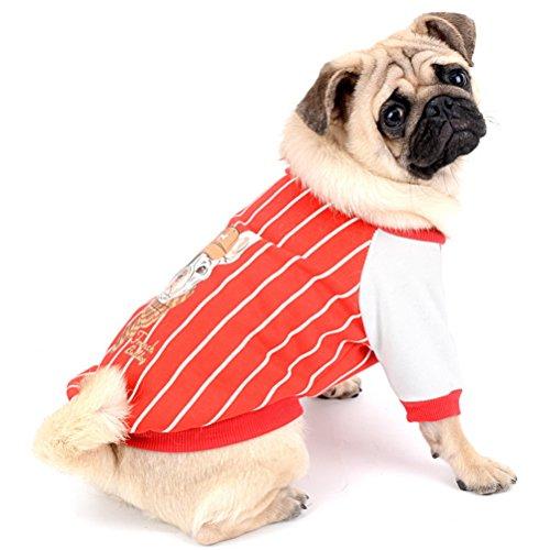 Fell Gestreift Weich Warm Winter Sweatshirts mit französische Bulldogge Muster Brustschutz Haustier Kleidung Apparel für Bulldoggen Pitbulls Bull Terrier Hunde (Bull Outfit)