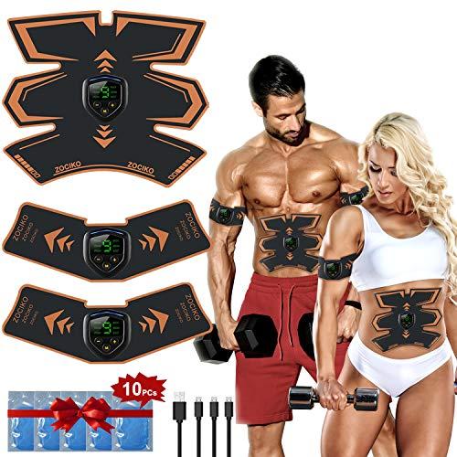 zociko Elettrostimolatore per Addominali, Elettrostimolatore Muscolare Professionale ABS Stimolatore Uomo e Donna per Addome/Braccio/Gambe con USB Ricaricabile, 6 modalità e 9 Livelli di Intensità