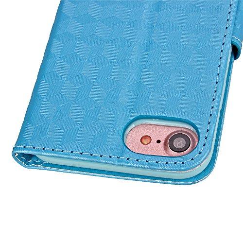 Cuitan 3D Rhombus Gitter PU Leder Flip Schutzhülle Hülle für Apple iPhone 7 (4,7 Zoll), Weiche Innen Hülle mit Kartenfach und Standfunktion Doppelt Magnetverschluss Case Cover Etui Handytasche Handyhü Azurblau