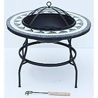 FunkyBuys® Deluxe tavolo tondo mosaico 63cm Fire Pit Grandi gambe in metallo ciotola Patio (si-bbq3) - Ardesia Outdoor Patio