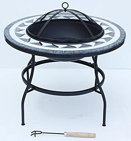 FunkyBuys® Deluxe Round Mosaic 63cm Large Fire Pit Table Metal Legs Bowl Patio (SI-BBQ3)
