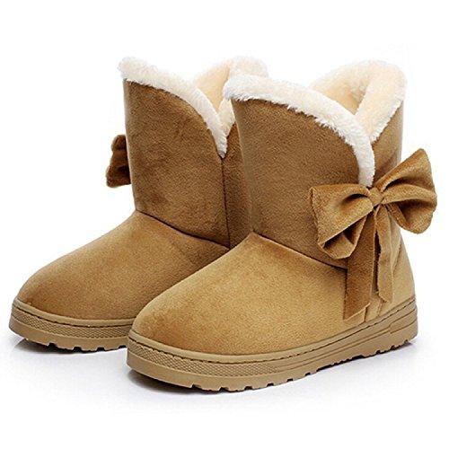 Minetom Damen Schuhe Bow Tie Stiefeletten Winter Fur Boots Winterstiefel Warm Casual Flats Bequeme Boots Braun