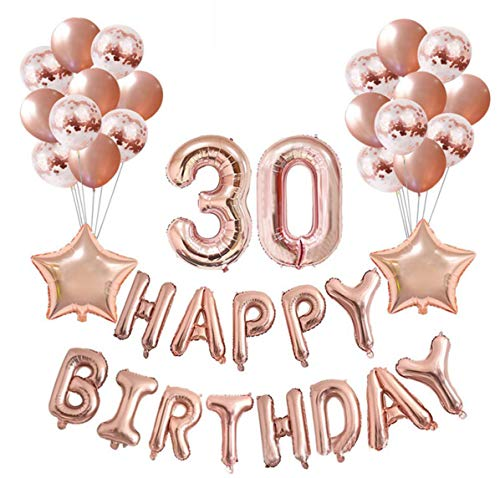eko Set Nummer 30 Luftballon Rosegold für Frauen,Geburtstag Party Deko -2 Zahl 30 Aufblasbar Helium Folienballon+13 Happy Birthday Folienballon+ 20 Ballon+ 2 Stern Ballon ()