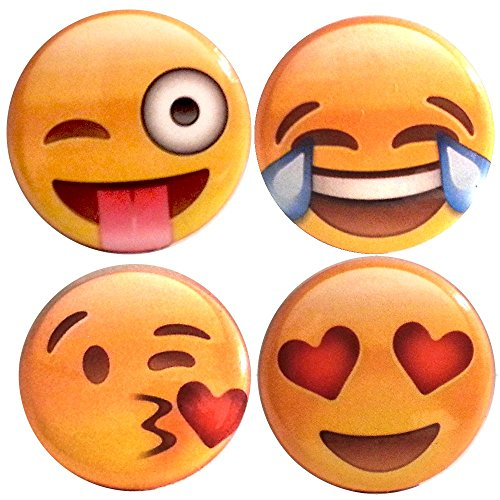 Emoji Pin/Button 4-Pack - Heart Eyes, Kiss Face, Tears of Joy, Tongue Out Crazy Face