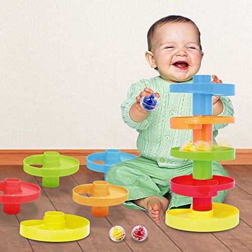 Circuito de bolas de colores con tobogán en espiral. Juego educativo para bebés de 9 meses en adelante