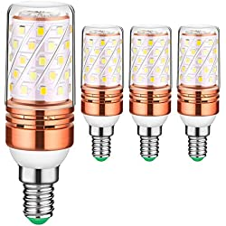 Auban LED Mais Birnen Rosen Gold birnen LED Birnen Warmes Weiß E14 12W 2700-3000K 100W Glühlampen Äquivalent 880Lm, kein Aufflackern kein Röhrenblitz Nicht Dimmable Kleine Edison Schraube LED Glühlampe, Leuchter Glühlampen (4 Packs)