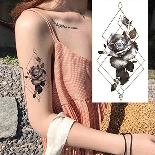 Yangll Kompass Pfeile Hot Schwarz Weiß Große Blume Henna Temporäre Tätowierung Schwarz Mehndi Stil wasserdichte Tattoo Aufkleber 21X11 cm 4 Stücke