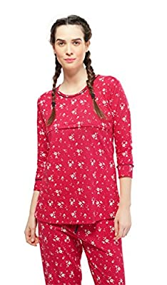 f232dcbd33a ZEYO Women s Cotton Red Feeding Night Suit