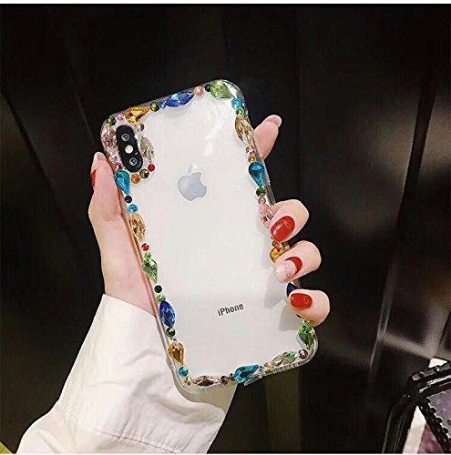 Shinyzone iPhone X Glitzer Handyhülle,Luxus 3D Handgefertigt Bling Funkeln Diamant Zurück Hülle Glänzend Kristall Strass Edelstein Transparent Weich Silikon TPU Bumper Schutzhülle für iPhone X 5.8 zoll,Bunt (Funkelnde Aquarell)