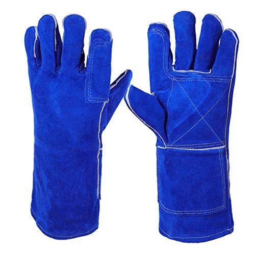CZWYF Top-Qualität blau 340mm Schweißhandschuhe, Kaminhandschuhe Hochtemperatur-BBQ-Herd langgezogene Schweißer Gauntlet Log Feuer-Schutzhandschuhe Arbeitshandschuhe - Herd-bereich Tops