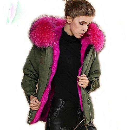 Parka XXL cappotto collo in 100% Vera Pelliccia Vera Pelliccia Giacca Corta Kaki 8colori Pink S
