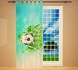 Clever-Kauf-24 Vorhang Gardine für Das Kinderzimmer Fußball Blau BxH 145 x 245 cm | Sichtschutz | Lichtdurchlässig | Schlaufenschal Fürs Vereinsheim