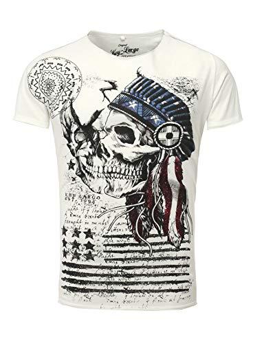 Key Largo T-Shirt Indian Skull weiß Off White M - Indian Skull T-shirt