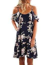 Vestidos Mujer Verano 2018 EUZeo Sexy Casual Floral Estampado Vestidos con Cuello redond Dobladillo de Irregular
