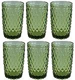 Vintage 6 Teile Set Glasnetz König Trinkglas Glas Gläser Weingläser Wasserglas Longdrinkglas (grün)