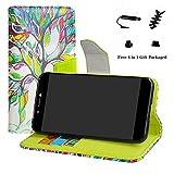 LFDZ Archos Core 50 Hülle, [Standfunktion] [Kartenfächern] PU-Leder Schutzhülle Brieftasche Handyhülle für Archos Core 50 Smartphone (mit 4in1 Geschenk Verpackt),Love Tree