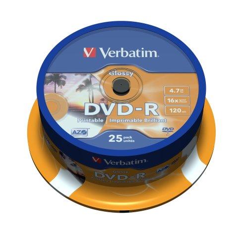Verbatim dvd-r 4.7gb printable - confezione da 25