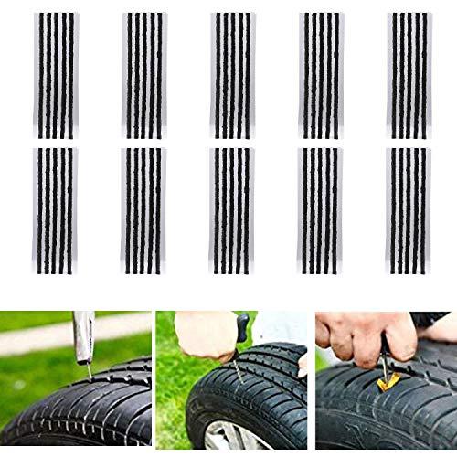 CICMOD 50pcs Kits de Reparación de Neumáticos de Reparación de Neumáticos Cuerdas Clavijas de Reparación de Neumáticos para Coche Van Camión Moto