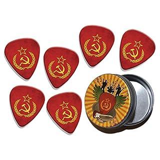 Soviet Union Hammer & Sickle Flag 6 X Logo Gitarre Plektrums Picks in Tin (GD)