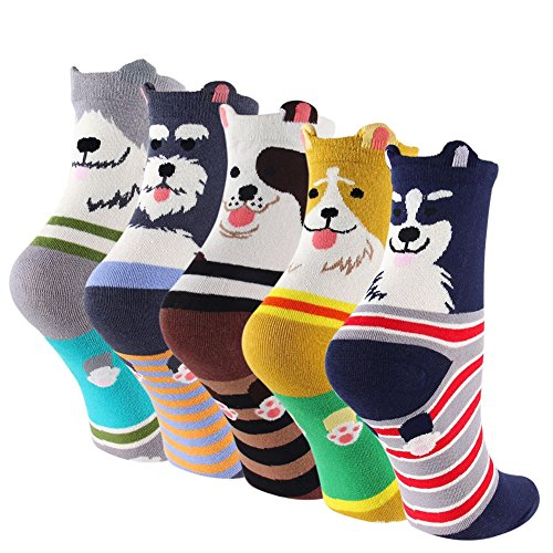 CaiDieNu 1/2/5/10 Pairs Womens Cotton Cute Cartoon Animals Character Socks UK 4-10