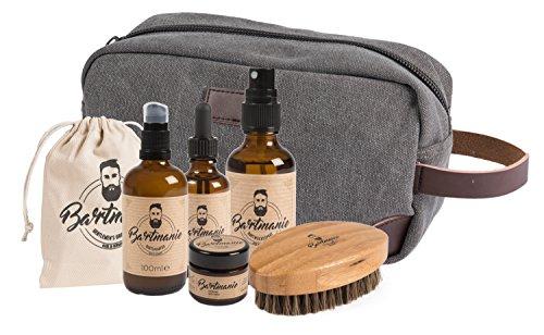 Bartmanie 5 teiliges Bartpflege Set bestehend aus Bartshampoo (100ml), Bartwuchsspray (50ml), Bartwachs (50ml), Bartöl (50ml), Bartbürste & Kulturbeutel, Geschenkset für Männer