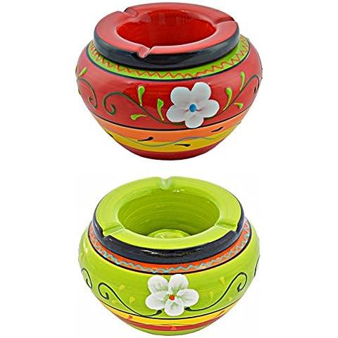 Bellissima posacenere di alta qualità in ceramica–12pezzi–Rosso e Verde–Multicolore bemustert–diametro 13,5cm altezza 9cm