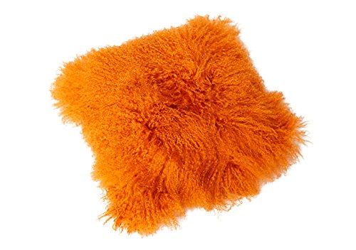 Tibet Lammfell Kissen Kissenbezug 40x40cm (große Farbauswahl) JAY12 Farbe orange (Orange Fell)