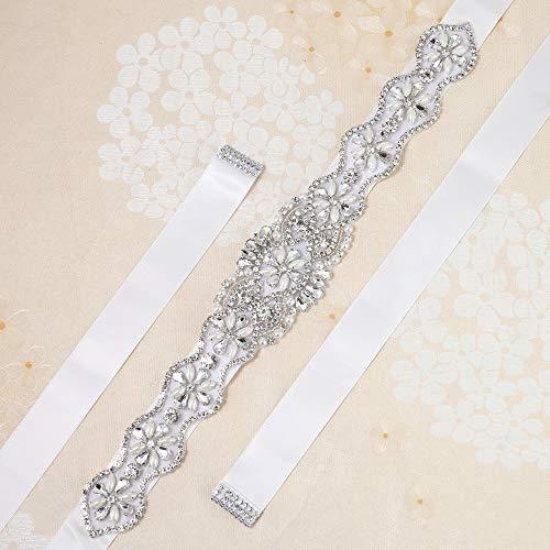 Mode Handarbeit Brautgürtel Kristall mit Strass und Perlen für Hochzeitskleider Abendkleid Weiß X-Large white ribbon - Abendkleider Mit Kristallen