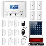 ERAY M2C GSM Funk Alarmanlage mit LCD Display, SMS und Anruf, APP und deutsche Anleitung, Alarmsystem Set mit 1 kabelgebundene Innensirene, 4 Bewegungsmelder und 9 Türkontakten, 2 Fernbedienung und 1 Solar Power Sirene