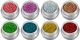 Hologramm Glitzer Glitter Puder Set Holo Nailart Sparset mit 8 Farben