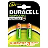 #9: Duracell Plus 5000172 AA Rechargeable Batteries 1300 mAh (Pack of 2, Green)