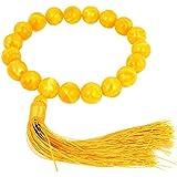Nylon Tassel Detail Plastic Buddha Buddhist Mala Bead Bracelet Yellow