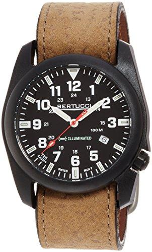 Bertucci 13504uomo a-5p illuminato nero quadrante orologio con cinturino in pelle marrone