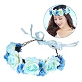 Frcolor Künstliche Blumen-Haar-Band-Stirnband für Hochzeits-Verlobungs-Feier-Cocktailparty (blau)