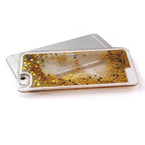 Apple iphone 6 / 6s Plus 5.5 Zoll Hülle, SmartLegend 3D Bling Hardcase Kreative Liquid Schutzhülle Druck Neuheit Kreative Transparent Handyhülle Blumen Mädchen Muster Premium Strass Tasche Protection  Golden
