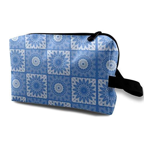 Blau glänzend Mandalas Mosaic Tile_2574 Kulturbeutel mit Reißverschluss Kosmetik Make Up Tools Frauen schwarz -