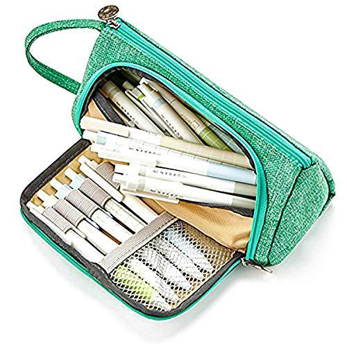 (Pencil Pen Case große Stifthalter Organizer Canvas Bleistiftbeutel Reißverschluss Portable Storage Case)