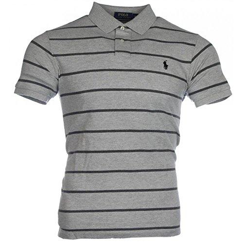 Ralph Lauren Herren Kurzarm Polo - Gestreift - Custom Fit - Premium Cotton Dunkelgrau / Grau