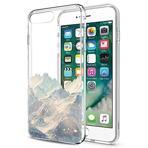 Cover iPhone 8 Plus, Cover iPhone 7 Plus, Eouine Ultra Slim Protective Cover Trasparente con Disegni, Morbido Antiurto 3d Cartoon Pattern Gel Custodia Bumper Case in TPU Silicone per Apple iPhone 7 Pl Neve montagna