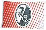Flagge mit Hohlsaum SC Freiburg Streifen - 100 x 150 cm + gratis Aufkleber, Flaggenfritze®