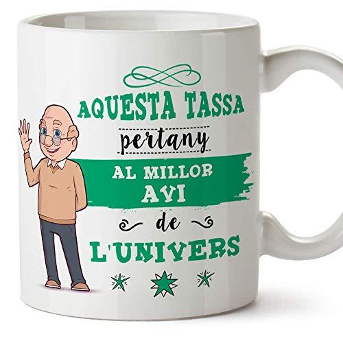 MUGFFINS Taza Abuelo (En Catalán) -'Aquesta Tassa Pertany al Millor Avi de l'Univers' - Taza Desayuno/Idea Regalo Día del Padre. Cerámica 350 mL