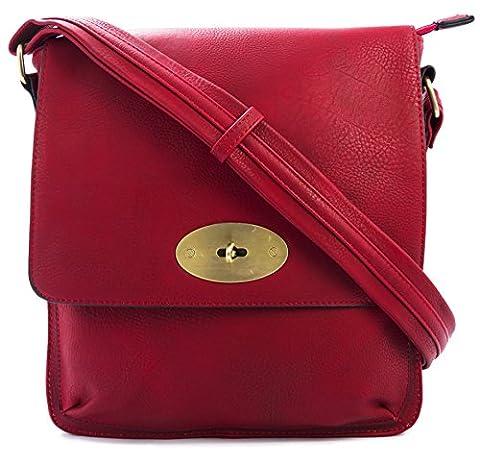 Big Handbag Shop Faux Leather Medium Twist Lock Cross Body Messenger Bag (Scarlet Red)