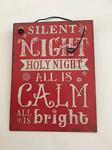 Vintage Christmas Metal Sign. Silent Night Holy Night