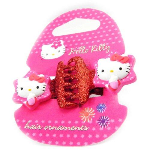 Pair of hair clip 'Hello Kitty' rot glitter.
