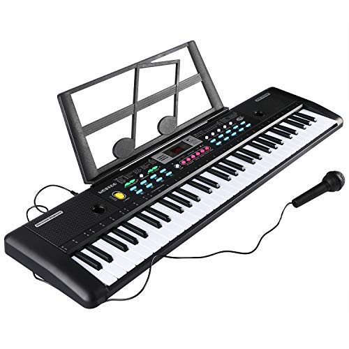 Teclado Electrónico Piano 61 Teclas, Teclado de Piano Portátil con Atril, Micrófono, Fuente de Alimentación, Música Digital, Teclado de Piano para Niños (negro)