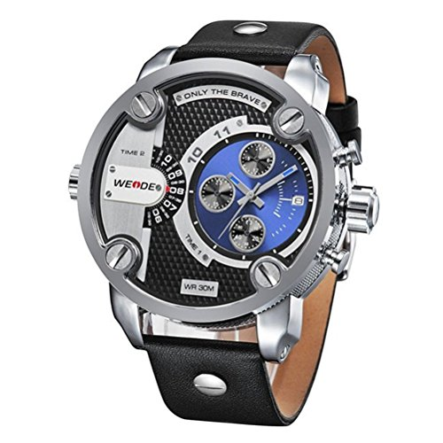 Pixnor Scarpa impermeabile Premium WEIDE grande rotondo Dual Time orologio al (Doppio Tempo Cronografo)