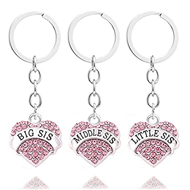 3pcs Pink Crystal Big Middle Little Sister Gift Family Friend Key Chain Rings Set Women Girls Keychains